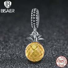 925 Sterling Silver Pendants Love of Pineapple, Yellow AAA Zircon Fruit Charms Fit Original Pandora Bracelets & Necklaces HSC150