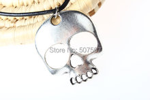 Wholesale-New~Skull Necklace,Floral Skull Necklace,Big skull necklace,Retro Silver Skull Necklace