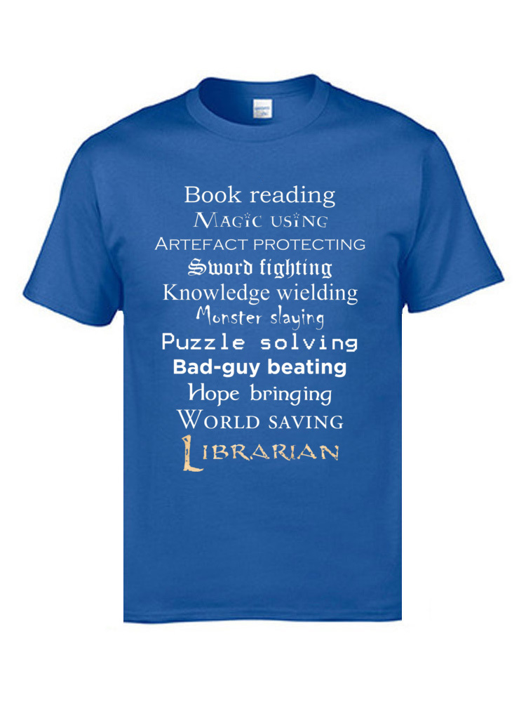 Librarian white text 8095 Tops Shirts Discount O Neck Casual Short Sleeve 100% Cotton Men's T Shirt Group Tee-Shirts Librarian white text 8095 blue