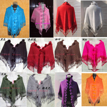Free Shipping Triangle Chinese Women's Cashmere Rabbit Fur Shawl Scarf Scarves