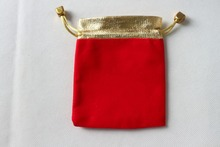 OneckOha Red Color!7*9cm Gold Edge Velvet Gift Bag Cotton Pouch Jewelry Packaging Materials 50pcs/Lot