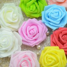 50pcs 7 Cm Single Heads Artificial Foam Rose Flowers For Home Wedding Decoration Scrapbooking PE Fake Flower  Kissing Balls