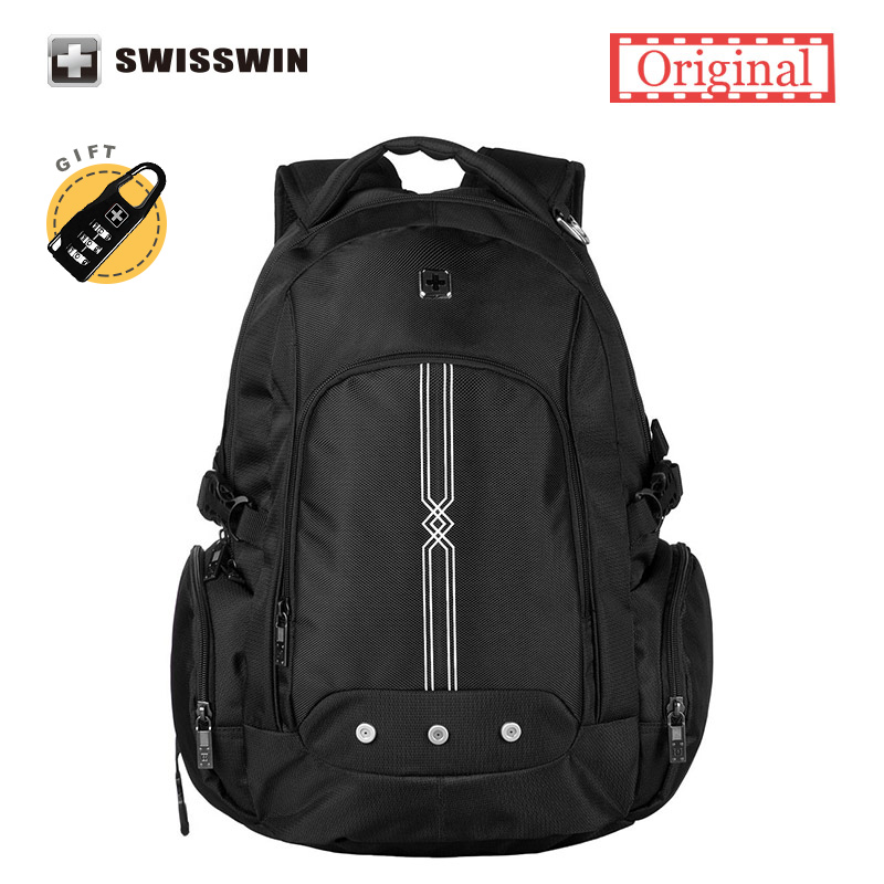 swisswin Brand 15.6 Laptop Backpack Wenger Waterproof Black Laptop Backpack School Backpack For Boys Girls<br>