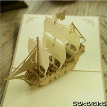 creative exquisite handmade retro sailing vessel 3D business greeting card 3D postcard(China)