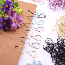 30pcs / Lot 2.5 * 1.5cm Modeling Paper Clips Metal Material Water Drop Shape Golden Silver Black Colored Bookmark Memo Clips