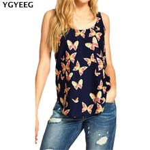 Buy YGYEEG Chiffon Women Tanks Fashion Vest Butterfly Printed Female Camis Ladies Female O-neck Cotton Tops Sleeveless Woman Tees for $2.51 in AliExpress store