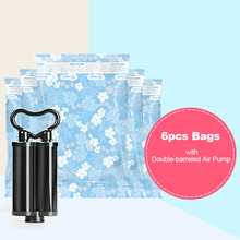 7pcs/lot Small Vacuum Storage Bags + Hand Pump Blue Travel Organizer Space Rangement for Clothes and Underwear Compression Bag