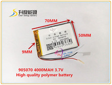 best battery brand 3.7V,4000mAH 905070 polymer lithium ion / Li-ion battery for model aircraft,GPS,mp3,mp4,cell phone,speaker,bl(China)