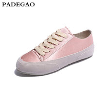 PADEGAO  2017 Autumn Women Casual White Flat Shoes Spain Niche Silk Satin Suede leather Lace up Casual Shoes