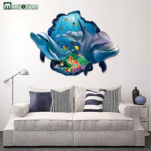 YunXi Sea Aquarium Dolphin 3D Wall Stickers Removable Wall Poster DIY Art Animal Decoration Accessories For Kids Rooms Wallpaper