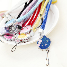 NEW Cute Cat Design Cartoon Colorful Lanyard Mobile Phone Straps Mobile Phone Neck Hanging Rope Chain Straps Keychain Charm Cord