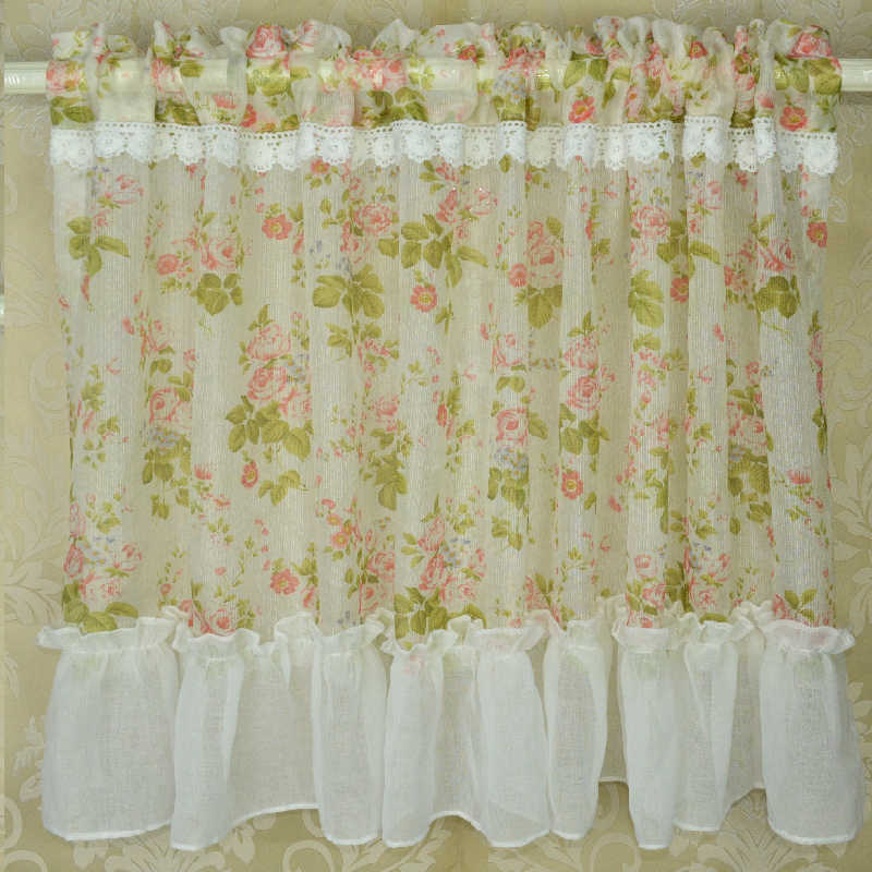 1 PC Yarn Sheer Tulle Curtains for Kitchen Curtain Window Coffee Short Floral Curtains Rural Dust Proof Stitched Up finished