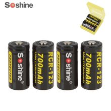 4pc 100% Original Soshine CR123 3.7 V 16340 700mah CR123A rechargeable lithium battery with Protected PCB+2pcprotect box