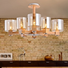HAIXIANG Nordic Retro oak Wooden Acrylic Chandeliers LED Living Room Lighting Pendant Hanging Ceiling Fixtures 4/6/8 Lights