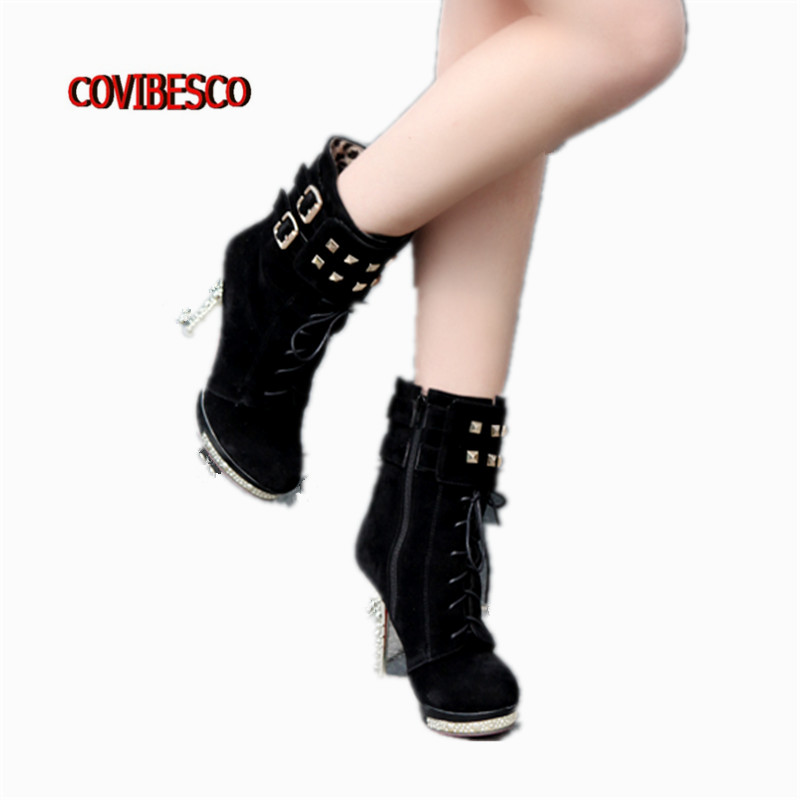 High Quality Women Sexy Punk Rivets High Heels Ankle Boots Platforms Spring Autumn Winter Short Martin Shoes Female High Boots<br><br>Aliexpress