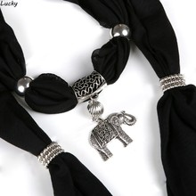 New Arrival Charms Scarf Elephant Pendant Scarf Jewelry Scarves Plastic Pendant Necklace Scarf Free Shipping
