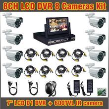 7 Inch Lcd DVR 8 channel 600TVL Camera Outdoor CCTV Systems 8ch DVR Kit Waterproof CCTV Security Surveillance DVR Record System(China)