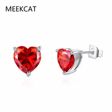 MEEKCAT Trendy White 100% Real 925 Sterling Silver Earrings for Women Jewelry Cubic Zirconia Luxury Garnet Heart Stud Earring