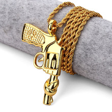 Fashion Peace Pistol  Necklace Jewelry Gold Chain for Men Hip Hop Bad Girl Star Bling Bling Rock Women Men Gift
