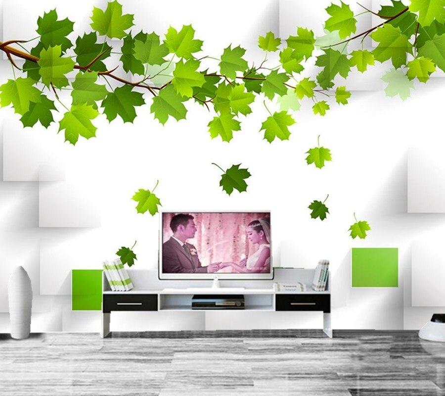 Custom 3D large murals papel de parede,3 d mural leaves wallpaper,living room sofaTV backdrop bedroom wallpaper for walls 3 d<br>