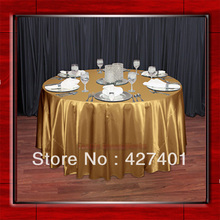 "Hot Sale Gold Shaped Poly Satin Table Cloth Wedding Meeting Party Round Tablecloths/Table Linen (128"" Round )"