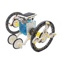 Hot ! Solar Robot 14 In 1 DIY Educational Robot DIY Toy Assembled puzzle Toys Car Boat Animal blocks Solar Powered For Children