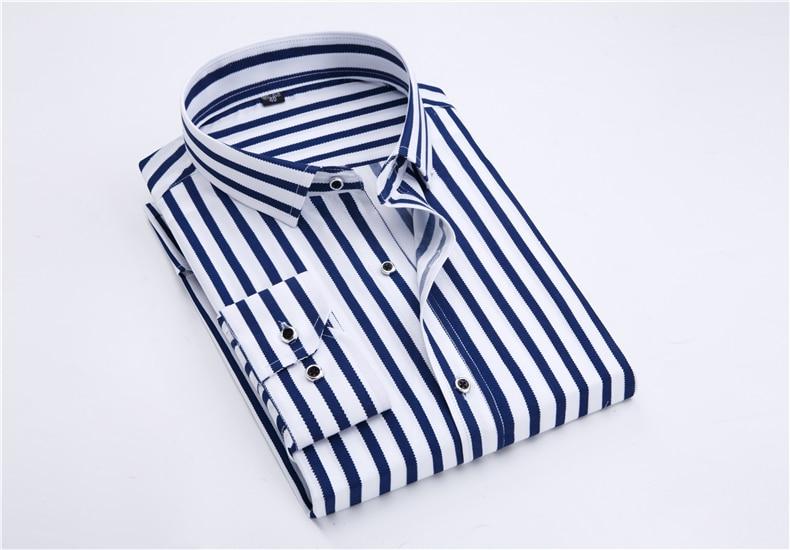 2018 New Men's Striped Male Shirts Cotton Men Shirt Mens Clothing Chemise Social casual Slim fit Dress Homme Shirts men K036 6