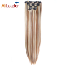 "Alileader Products Full Head Clip In Hair Extensions 6 Pcs/Set 16 Clips 140G 22"" Long Straight Fake Hair Pieces Blonde To Brown"