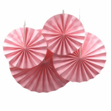 Hanging Paper Folding Fans Flower Honeycomb Tissue Paper Fan for Baby Shower Party, Event, Festival and Home Decoration (Pink)(China)