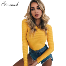 Simenual Autumn winter long sleeve sexy bodysuit striped slim yellow body for women casual bandage jumpsuit fitness bodysuits(China)