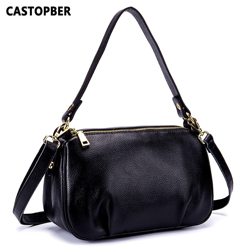 Ladies Handbags Women Fashion Bags 2018 Mid-Age Womens Cow Genuine Leather Double Zipper Shoulder Crossbody Bag Famous Brand<br>