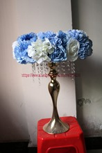 Artificial rose and Hydrangea wreath Wedding table centerpiece flower ball Arch flower Flower wall Blue 10pcs/lot TONGFENG(China)