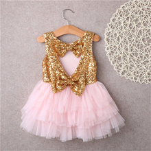 Hot Summer Girls Dress Sequins Heart Shape Back Love Gown Cute Sleeveless Princess Dresses 2017 New Tutu Tulle Bow Vestidos 2-7Y(China)
