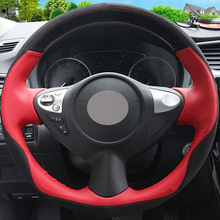 Xuji Car Steering Wheel Cover Black Suede Red Genuine leather for Infiniti FX FX35 FX37 FX50 Nissan Juke Maxima 2009-2014 Sentra