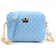 Women Messenger Bags Rivet Chain Girl Shoulder Bag PU Leather Crossbody Queen Crown Trunk Bags High Quality 40