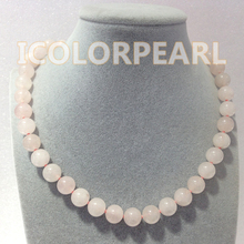 Beautiful 12mm Round Light  Pink Natural Ross Quartz Jewelry Necklace. Best Gift For Your Girls.