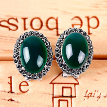 Natural Chalcedony Earring 925 Silver Women Yellow Green Stone MARCASITE S925 Thai Silver boucle d'oreille Stud Earrings