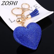 ZOSHI 2017 New Fashion Car Play 6 Colors Full Crystal Rhinestone Heart Key Chain Keychain Bag Car Hanging Pendant Jewelry(China)