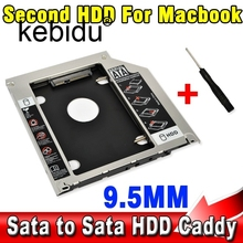 "2015 15pcs 9.5mm Second HDD Caddy 2nd SATA 2.5"" Hard Disk Drive SSD Enclosure for Apple Macbook Pro A1278 A1286 A1297 CD ROM Bay"