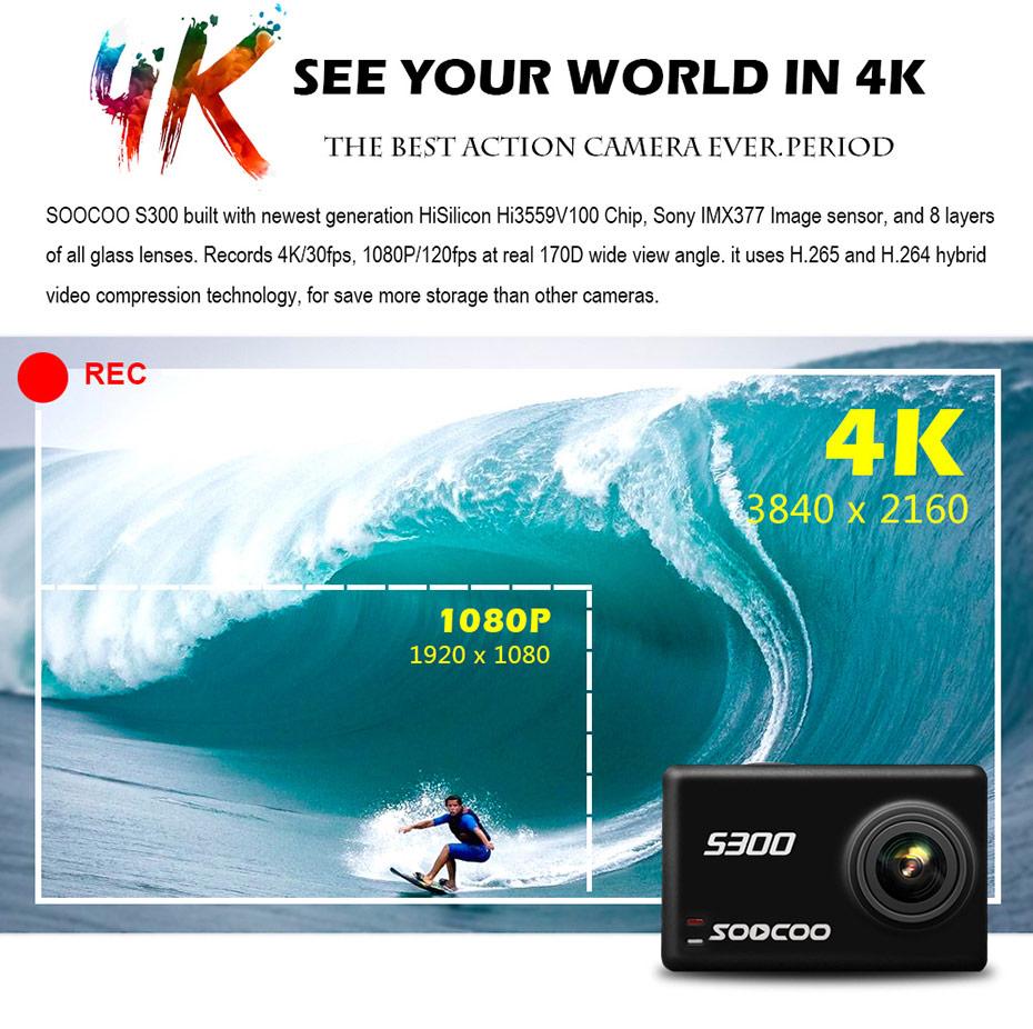 SOOCOO S300 4K 30FPS Sports Camera 2.35 Touchscreen Hi3559V100 IMX377 EIS Wifi External Mic GPS (2)