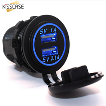 KISSCASE 5V 2.1A/1A Dual USB Ports Car Charger LED Light Flash Phone Car Charging Adapter Socket Plug For iPhone Charger Dock(China)