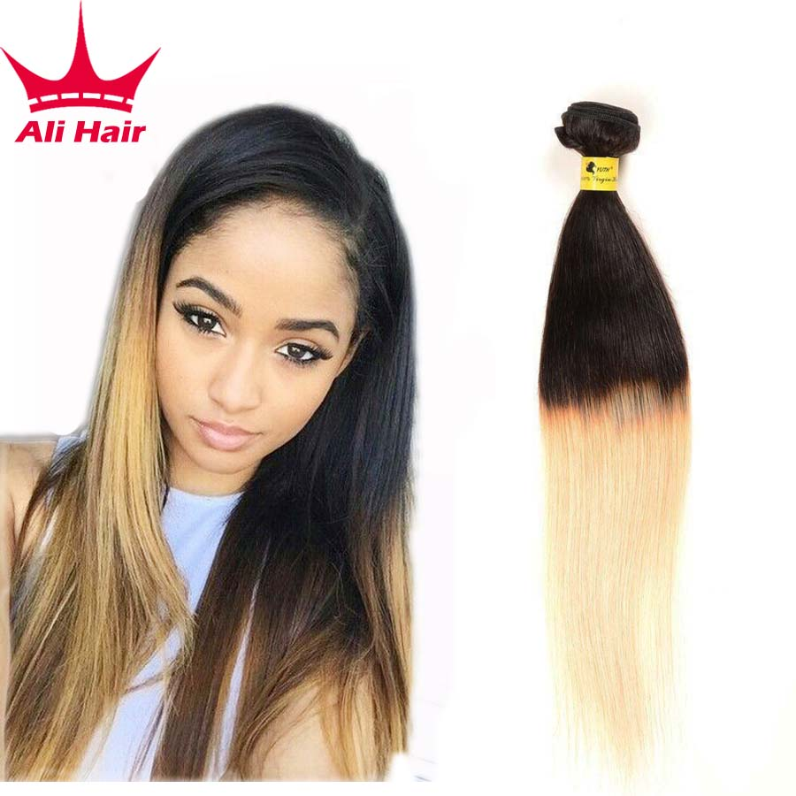 Ombre Peruvian Straight Hair 3 Bundles 1B 27 Ombre Peruvian Virgin Hair Straight Two Tone Ombre Human Hair Extensions 1b/27<br><br>Aliexpress