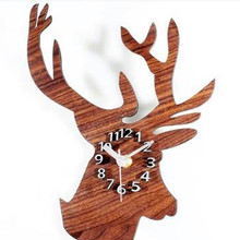 Elk shape Wall Clock 3D Sticker 2017 NEW Acrylic Modern DIY Wall Clock 3D Mirror Surface Sticker Home Office Decor drop shipping(China)