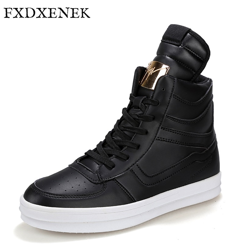 FXDXENEK Brand 2017 Fashion High Top Casual Shoes For Men PU Leather Lace Up Black Mens Casual Shoes Fashion Men Footwear Flats<br>