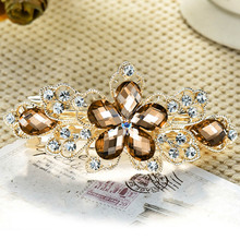 Elegant Lady's Rhinestone Crystal Flower Hairpin Clip Barrette Metal Hair Pins