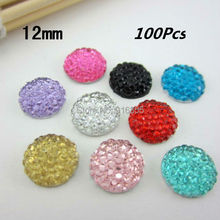 Sales!! 100Pcs12mm Flatback Resin Dotted Round Rhinestone Cabochon Gems,Flat Back Resin Rhinestone For DIY Decoration