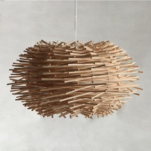 Modern Wooden Rattan Bird Nest Pendant Light,Add a touch of natural elements to your kitchen, dining or living area