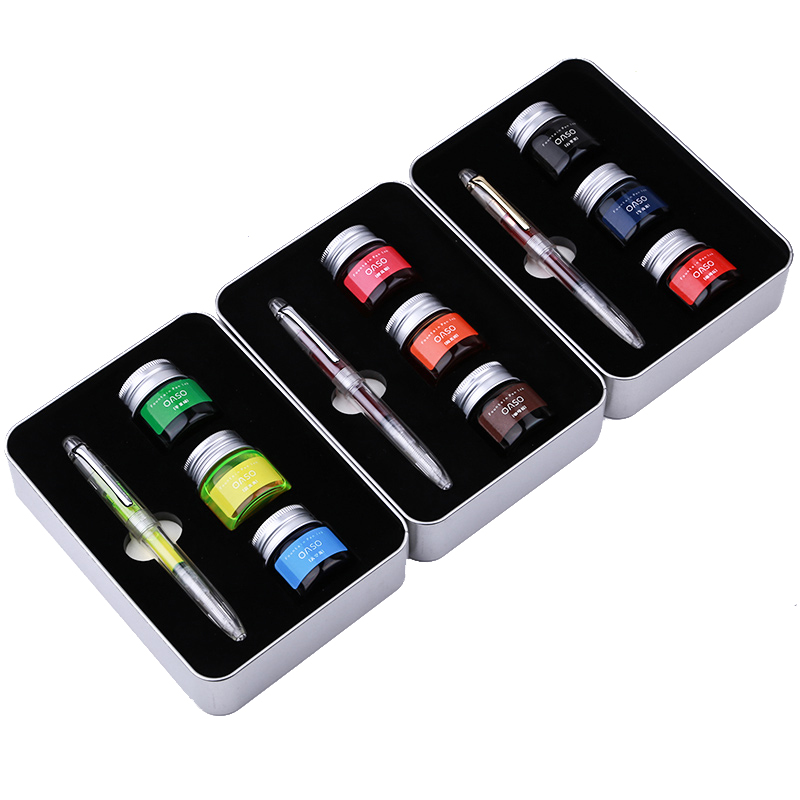 OASO Transparent Fountain Pen with 3 Bottle Color Ink Set with Gift Box Luxury Business Office Christmas Gift for Friends<br>