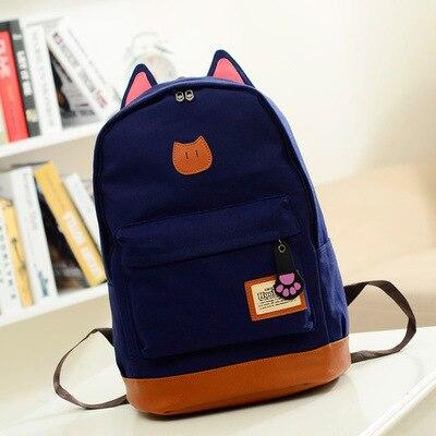 Girls Cute Cat Ear Cartoon Canvas Backpack Stachel Rucksack Shoulder School Bag  BAOK-3f2a<br><br>Aliexpress