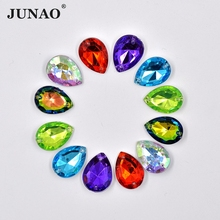 JUNAO 13*18mm Sewing Mix Color Drop Crystal Rhinestone Applique Sew On Crystals Stones Point Strass Acrylic DIY Clothes Crafts